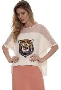 Blusa Bisô Tigre Branco