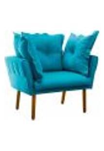 Poltrona Decorativa Londres Suede Azul Turquesa Pés Palito Castanho D'Rossi