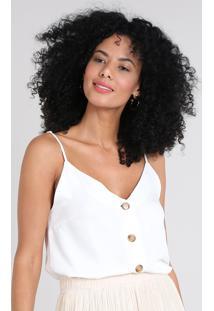 Regata Feminina Com Botões Decote V Off White