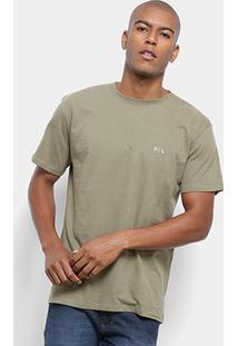 Camiseta Reserva R Assinatura Masculina - Masculino-Verde Militar