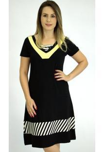 Vestido Pau A Pique Básico - Feminino-Preto