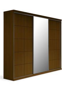 Armário 3 Portas De Correr, Espelho Central, Imbuia, Safira