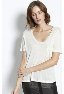 Camiseta Com Linho & Bolso Frontal - Off Whitecanal
