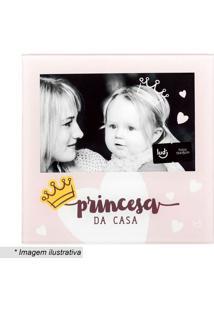 "Porta Retrato ""Princesa Da Casa""- Rosa Claro & Amarelo"