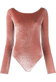 Oseree Slim-Fit Backless Bodysuit - Rosa