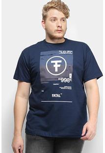 Camiseta Fatal Lo-Fi 998 Plus Size Masculina - Masculino-Azul