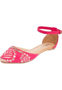 Sapatilha Dafiti Shoes Bordada Rosa