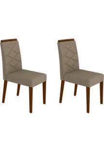 Conjunto Com 2 Cadeiras Caroline Castanho E Bege