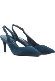 Scarpin Santa Lolla Salto Médio Slingback - Feminino-Azul