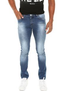Calça Jeans Enfim Slim Estonada Azul
