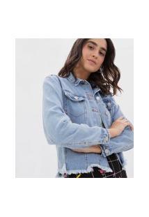 Jaqueta Jeans Com Barra Desfiada | Blue Steel | Azul | Gg