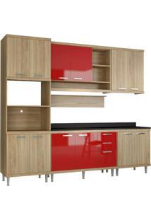 Cozinha Compacta Multimóveis Sicília 5815.132.694.610 Argila Vermelho Se
