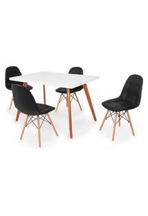 Conjunto Mesa De Jantar Gih 120X80Cm Branca Com 4 Cadeiras Botonê - Preto