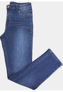 Calça Jeans Ecxo Skinny Estonada Plus Size Feminina - Feminino-Marinho