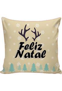 "Capa De Almofada ""Feliz Natal""- Bege Claro & Verde- Stm Home"