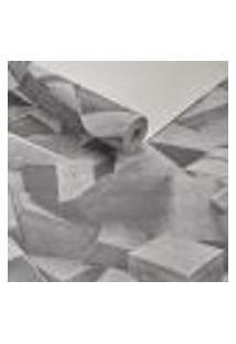 Papel De Parede Importado Lavavel Textura Blocos 3D Cinza