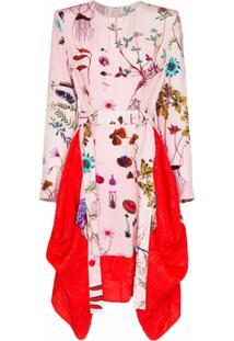 Stella Mccartney Vestido Assimétrico Floral Com Cinto - Rosa