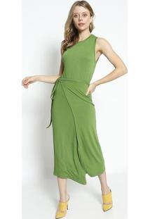 Vestido MãDi Com Amarraã§Ã£O - Verde - Sommersommer