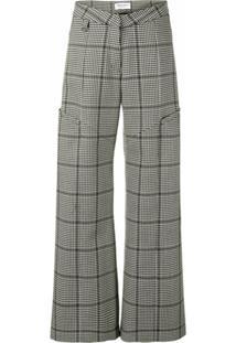 Marine Serre Calça Pantalona Com Padronagem Pied-De-Poule - Preto