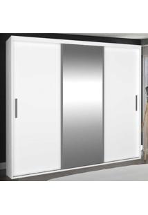 Guarda-Roupa Casal 3 Portas De Correr Com 1 Espelho 100% Mdf 1973E1 Branco - Foscarini