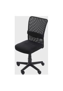 Cadeira Sidney S/ Braço Rodizio Preta Em Tela Base Nylon Or Design