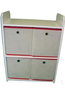 Estante Organibox Com Caixa Alça Vermelha
