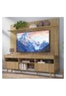 """Rack Com Painel Tv 65"""" Madri Multimóveis Rustic Com Prateleira E Pés Retrô Natural"""