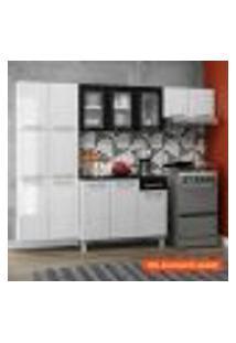 Cozinha Compacta Topázio I 11 Pt Branca E Preta