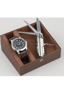 Kit De Relógio Analógico Mondaine Masculino + Canivete - 83447G0Mvnh1K Prateado - Único