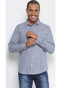 Camisa Colcci Ml Slim Fit Vichy Masculina - Masculino-Azul