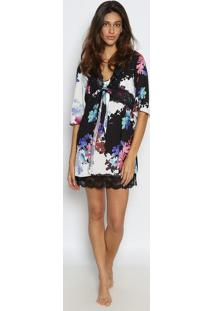 Robe Floral Com Renda- Preto & Brancomorena Rosa