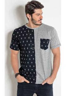Camiseta Actual Preta E Cinza Com Bolso Frontal