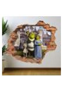Adesivo De Parede Buraco Falso Shrek - M 61X75Cm