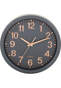 Relógio De Parede - Cinza Escuro & Rosê Gold - Ø35X5Mart
