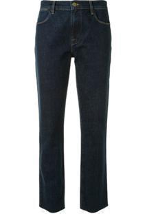 Frame Cropped Raw Hem Jeans - Azul