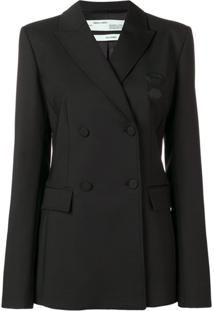 Off-White Double Breasted Suit Jacket - Preto