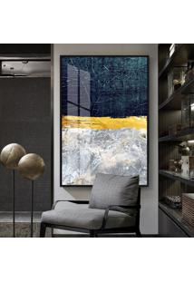 Quadro 150X100Cm Abstrato Roskosh Vidro Cristal E Moldura Preta Decorativo Interiores - Oppen House
