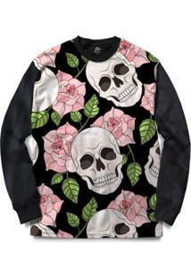 Blusa Bsc Skull Flowers Print Full Print - Masculino-Preto