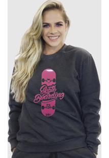 Blusa Moletom Feminino Moleton Básico Suffix Cinza Escuro Estampa Skate Boarding Rosa