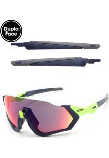 Óculos De Sol Oakley Flight Jacket Azul-Marinho/Verde