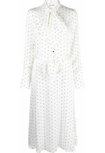 12 Storeez Vestido Midi Com Amarração Na Gola E Estampa De Poás - Branco