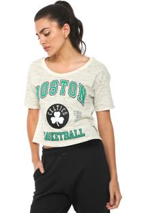 Camiseta Cropped Nba Boston Celtics Bege