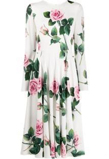 Dolce & Gabbana Vestido Com Estampa De Rosas - Branco