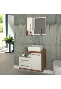 Gabinete Para Banheiro 1 Porta 2 Gavetas Com Cuba E Espelheira Legno 650W Siena Móveis Branco/Nogal