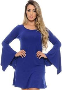 Vestido Curto B'Bonnie Manga Flare Flora - Feminino-Azul Royal