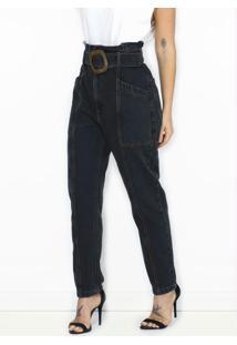 Calça Jeans Com Cinto Preta