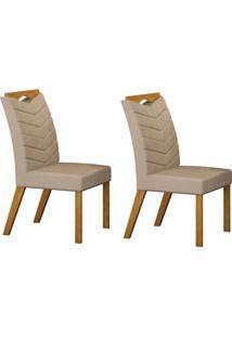 Conjunto Com 2 Cadeiras Verona Imbuia Mel E Veludo Palha