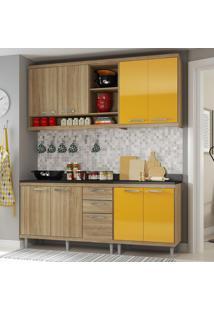 Cozinha Compacta 8 Portas Sicília Com Tampo 5819 Amarelo/Argila - Multimóveis