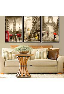 Quadro 60X120Cm Londres Nova Iork Paris França Sépia Detalhes Vermelho Amarelo Moldura Preta