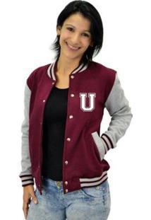 Jaqueta College Feminina Universitária Americana - Letra U - Feminino-Bordô